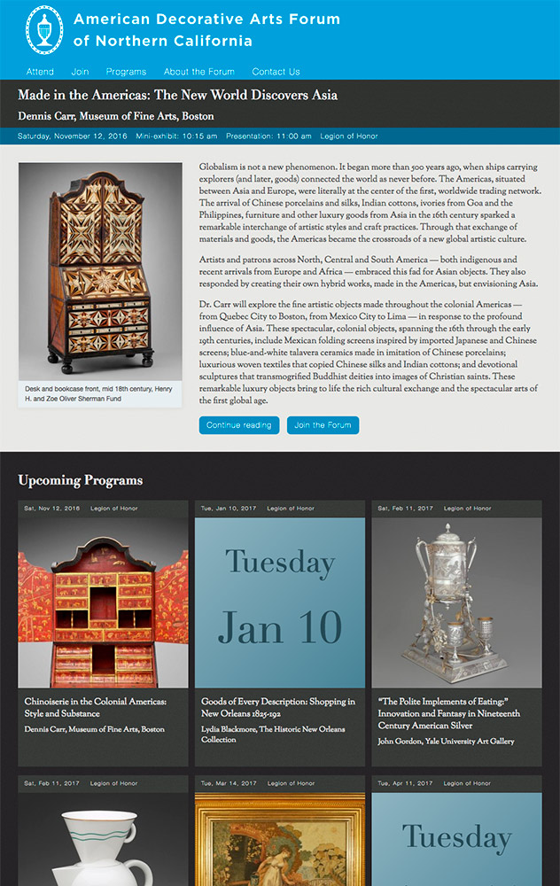 American Decorative Arts Forum website by Kyle McGuire