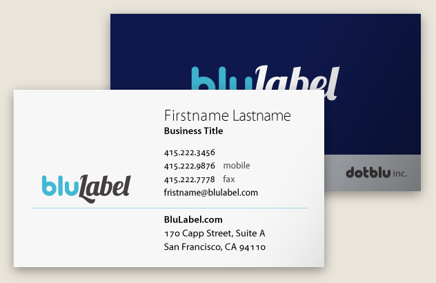 Blulabel Business Card By Kyle Mcguire