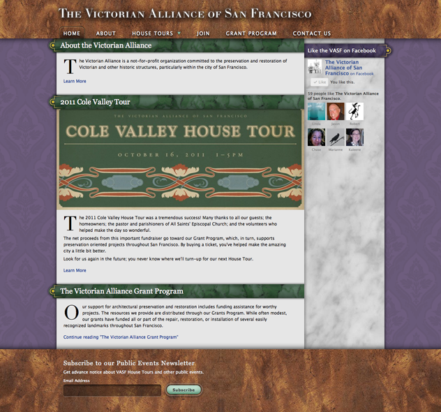Victorian Alliance of San Francisco Website Homepage by Kyle McGuire